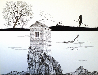 Pen and ink drawing.  Peter Buddle