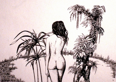 Erotic image, pen and ink.  Peter Buddle