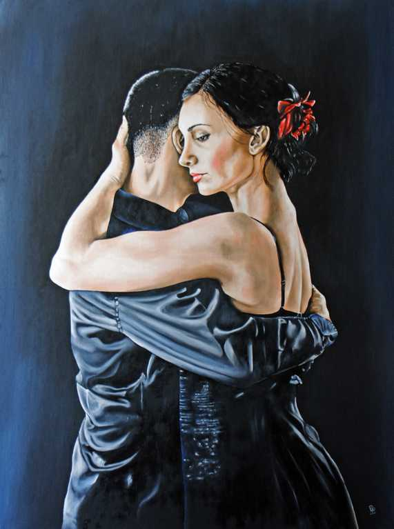 Latin Dancers, Painting, Oil on Board.  Peter Buddle
