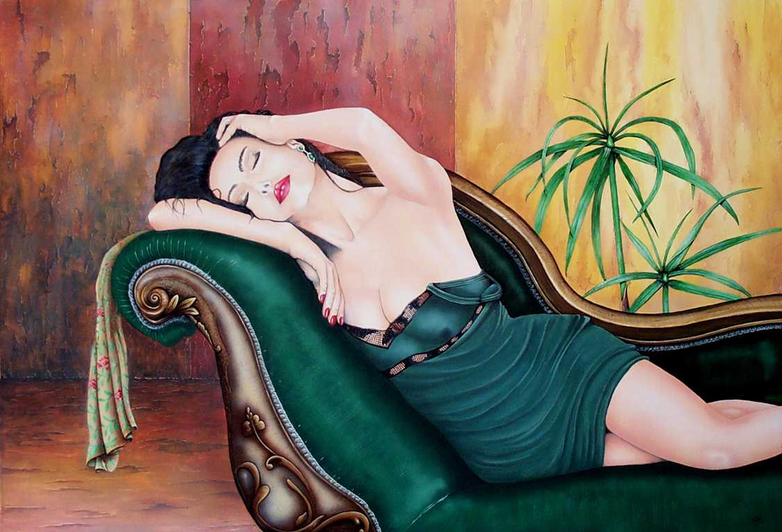 Figurative fine art Painting.  Reclining.  Peter Buddle