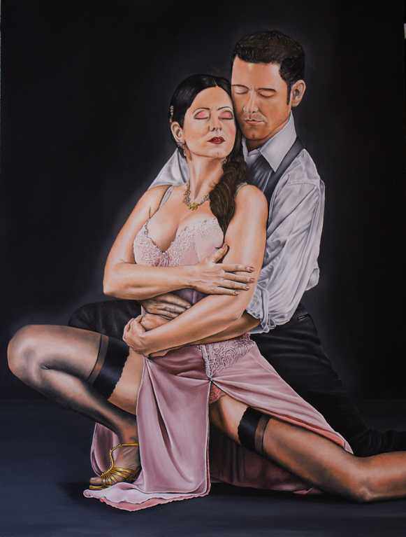 Fine Art Painting, The Love of Tango, Oil on Board.  Peter Buddle