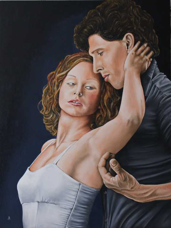 Fine Art Painting, Two to Tango, Oil on Board.  Peter Buddle