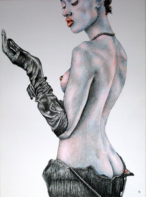 Figurative fine art Painting. Fantasy Girls, Woman with Gloves.  Peter Buddle