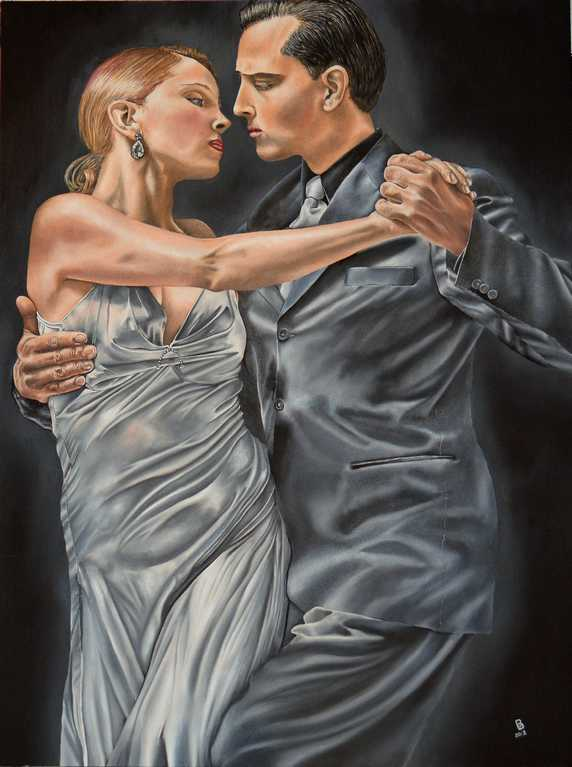 Fine Art Painting, Dancing Together, Oil on Board.  Peter Buddle