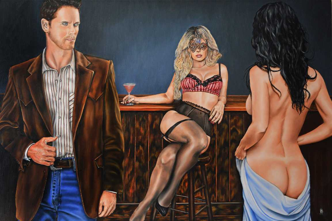 Figurative fine art Painting.  The Bar.  Peter Buddle